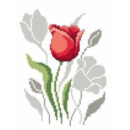 Zestaw z muliną i koralikami - Wiosenne kwiaty – Tulipany