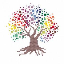 ZI 8707 Zestaw do haftu z muliną i koralikami - Barwne drzewo