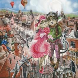 Zestaw z muliną i podmalowanym tłem - Love in Paris