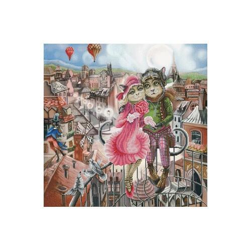 Zestaw z muliną i podmalowanym tłem - Miłość w Paryżu