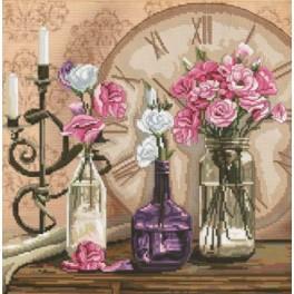 Zestaw z muliną i podmalowanym tłem - Czas kwiatów
