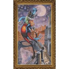 Zestaw z muliną i podmalowanym tłem - Księżycowa sonata