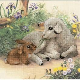 Zestaw z muliną i podmalowanym tłem - Owieczka i króliczek