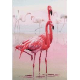 Zestaw z muliną i podmalowanym tłem - Flamingi
