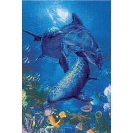 Zestaw z muliną i podmalowanym tłem - Trzy delfiny