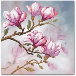 Zestaw z muliną i podmalowanym tłem – Kwitnąca magnolia
