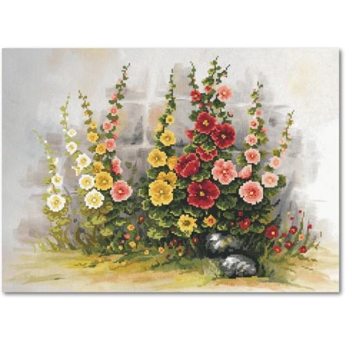 Zestaw z muliną i podmalowanym tłem – Malwy w ogrodzie