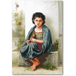 Zestaw z muliną i podmalowanym tłem - Mała dziewiarka