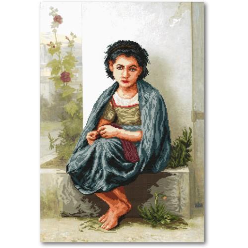 ZA 11103 Zestaw do haftu z podmalowanym tłem - Mała dziewiarka