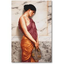 Zestaw z muliną i podmalowanym tłem - Dziewczynka z tamburynem