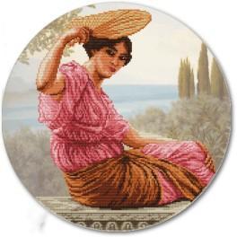 Zestaw z muliną i podmalowanym tłem - Dziewczyna z wachlarzem