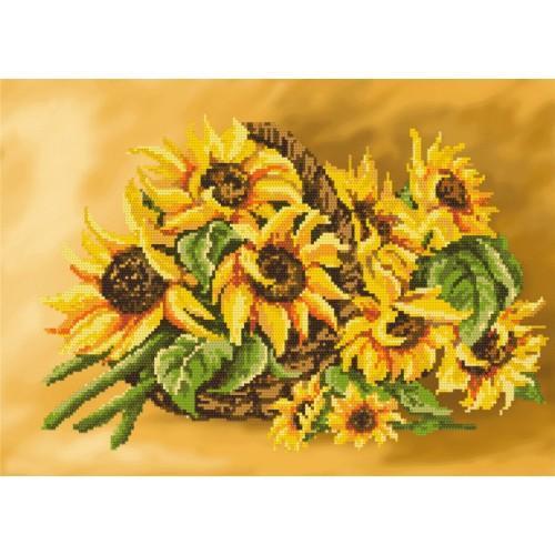 Zestaw z muliną i podmalowanym tłem - Słoneczniki w koszyku