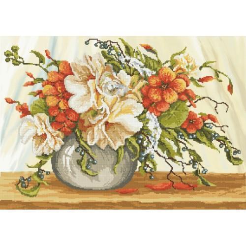 Zestaw z muliną i podmalowanym tłem - Nasturcje w wazonie