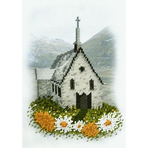 Zestaw z muliną i podmalowanym tłem - Kościółek w górach