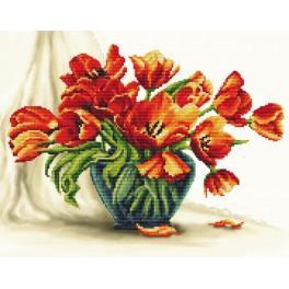 ZA 11118 Zestaw z muliną i podmalowanym tłem - Urzekające tulipany