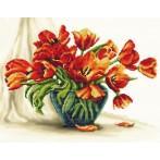 Zestaw z muliną i podmalowanym tłem - Urzekające tulipany