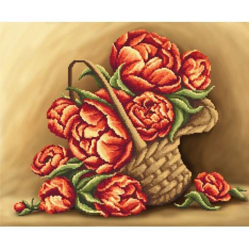 Zestaw z muliną i podmalowanym tłem - Kwiaty w koszu