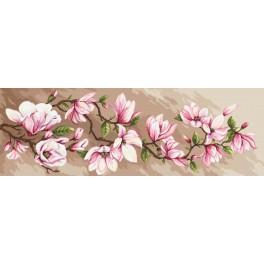 Zestaw z muliną, koralikami i podmalowanym tłem - Romantyczne magnolie