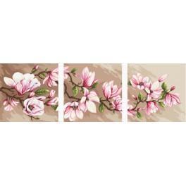Zestaw z muliną, koralikami i podmalowanym tłem -Tryptyk z magnoliami