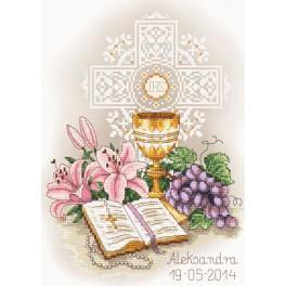 Zestaw z muliną i podmalowanym tłem - Pamiątka I Komunii Świętej