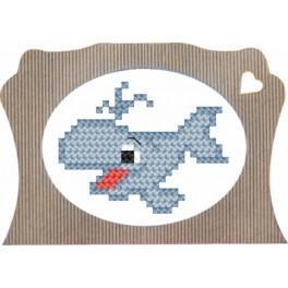 Zestaw z muliną i ramką - Wzory dla dzieci – Wieloryb