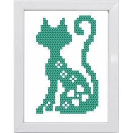 Zestaw z muliną i ramką - Kolorowe koty – Kot turkusowy