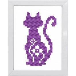 Zestaw z muliną i ramką - Kolorowe koty – Kot fioletowy