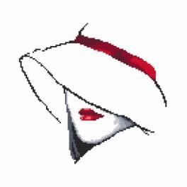 Zestaw z nadrukiem i muliną - Kobieta w kapeluszu I