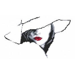 Zestaw z nadrukiem i muliną - Kobieta w kapeluszu II