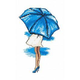 Zestaw z nadrukiem i muliną - Niebieska parasolka