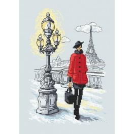 Zestaw z nadrukiem i muliną - Paryski szyk