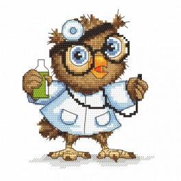 Zestaw z nadrukiem i muliną - Mała sówka - lekarka