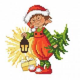 Zestaw z nadrukiem i muliną - Świąteczny skrzacik