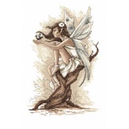 Zestaw z nadrukiem i muliną - Wróżka z krainy fantazji