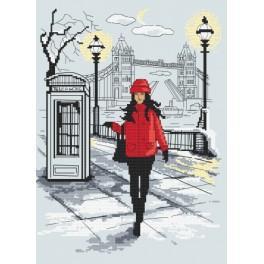 Zestaw z nadrukiem i muliną - Londyńska elegancja