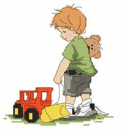 Zestaw z nadrukiem i muliną - Chłopczyk z koparką