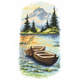 Zestaw z nadrukiem i muliną - Zmierzch nad jeziorem