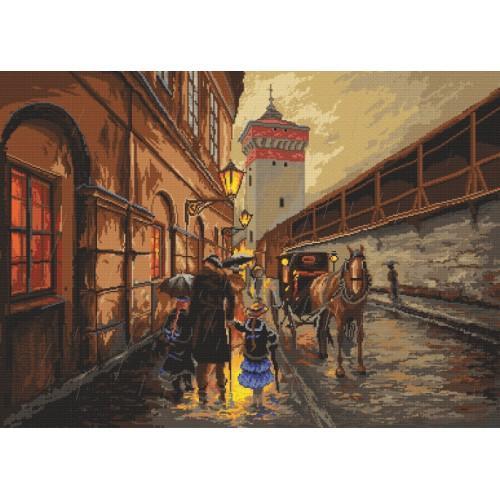 Zestaw z nadrukiem i muliną - Kraków - Deszcz na Pijarskiej - M.Szeib