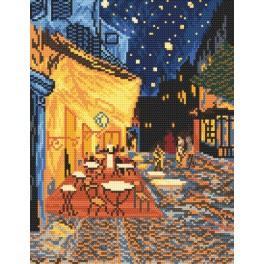 ZN 4345 Zestaw z nadrukiem i muliną - Nocna kawiarnia - Van Gogh