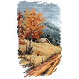 ZN 4525 Zestaw z nadrukiem i muliną - B. Sikora - 4 pory roku- jesień