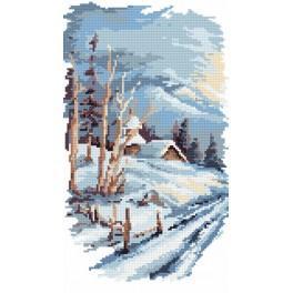 Zestaw z nadrukiem i muliną - B. Sikora - 4 pory roku- zima