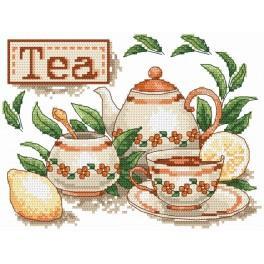 Zestaw z nadrukiem i muliną - Herbatka