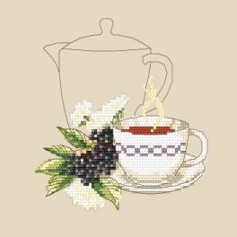 Zestaw z nadrukiem i muliną - Herbatka z bzu