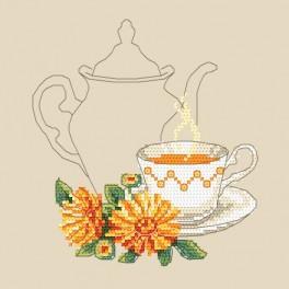 Zestaw z nadrukiem i muliną - Herbatka z nagietka
