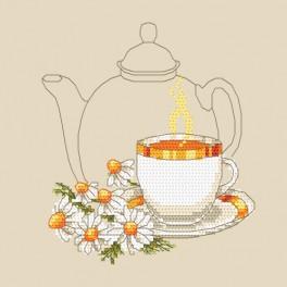 Zestaw z nadrukiem i muliną - Herbatka z rumianku