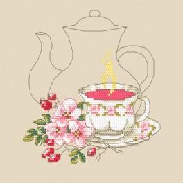 Zestaw z nadrukiem i muliną - Herbatka z róży