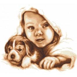 Zestaw z nadrukiem i muliną - Radosne dzieciństwo
