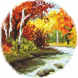 Zestaw z nadrukiem i muliną - Cztery pory roku – jesień