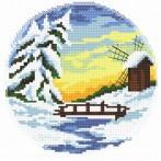Zestaw z nadrukiem i muliną - Cztery pory roku – zima
