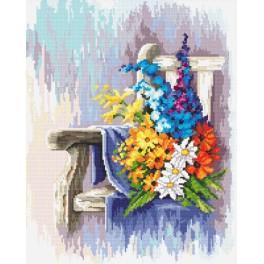 Zestaw z nadrukiem i muliną - Ławeczka z kwiatami